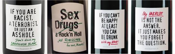 vier etiketten met ballen moederdag wijn