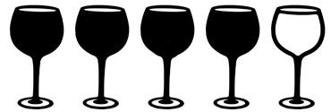 vier wijnglazen