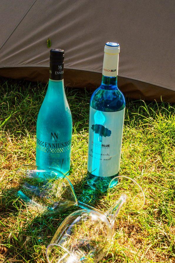 blauwe wijn in gras